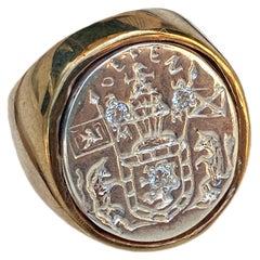 Crest Signet Ring Sterling Silver Bronze White Diamond Unisex J Dauphin