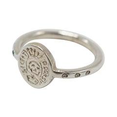 Crest Signet Ring Sterling Silver Emerald White Diamond Skull J Dauphin