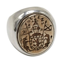 Crest Signet Ring Sterling Silver Gold Queen Mary Crest Lion Unicorn J Dauphin