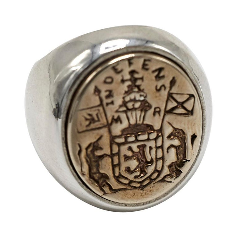 Crest Signet Ring Sterling Silver Gold Queen Mary Crest Lion Unicorn J Dauphin For Sale