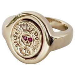 Crest Signet Ruby Memento Mori Style Skull Ring Bronze J Dauphin