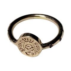 Crest Signet Skull Ring Black Diamond Victorian Style Bronze J Dauphin