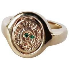 Crest Signet Ring Emerald Memento Mori Style Skull Bronze J Dauphin