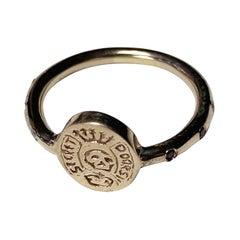 Crest Signet Skull Ring Memento Mori Style Gold Black Diamond J Dauphin