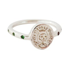 Crest Signet Skull Ring Memento Mori Style Silver Emerald Black Diamond