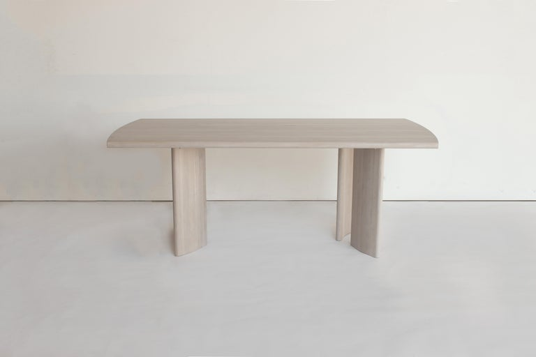 Chinese Crest Table, Nude, Minimalist Dining Table in Wood For Sale