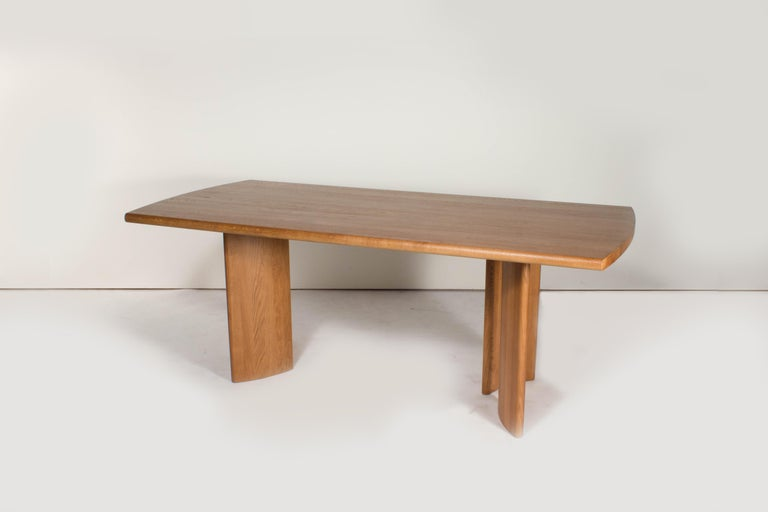 Sun at six is a Brooklyn design studio. We work with traditional Chinese joinery masters to handcraft our pieces using traditional joinery. The crest table is our statement, large dining table.  • Solid white oak • Tung oil finish • Detachable