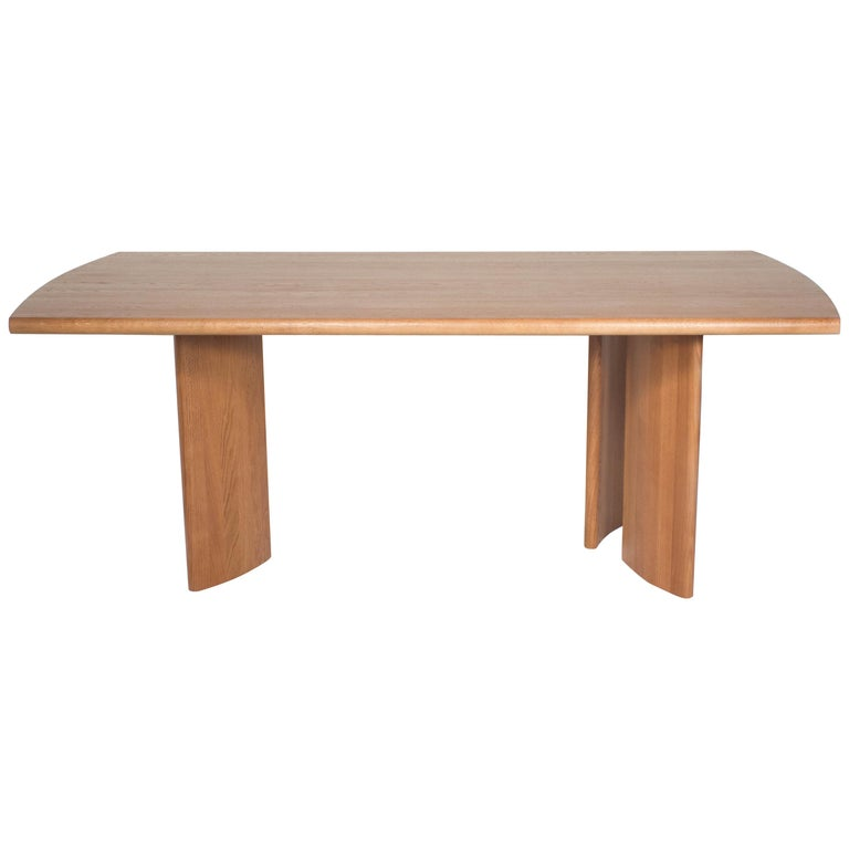 Crest Table, Sienna, Minimalist Dining Table in Wood For Sale