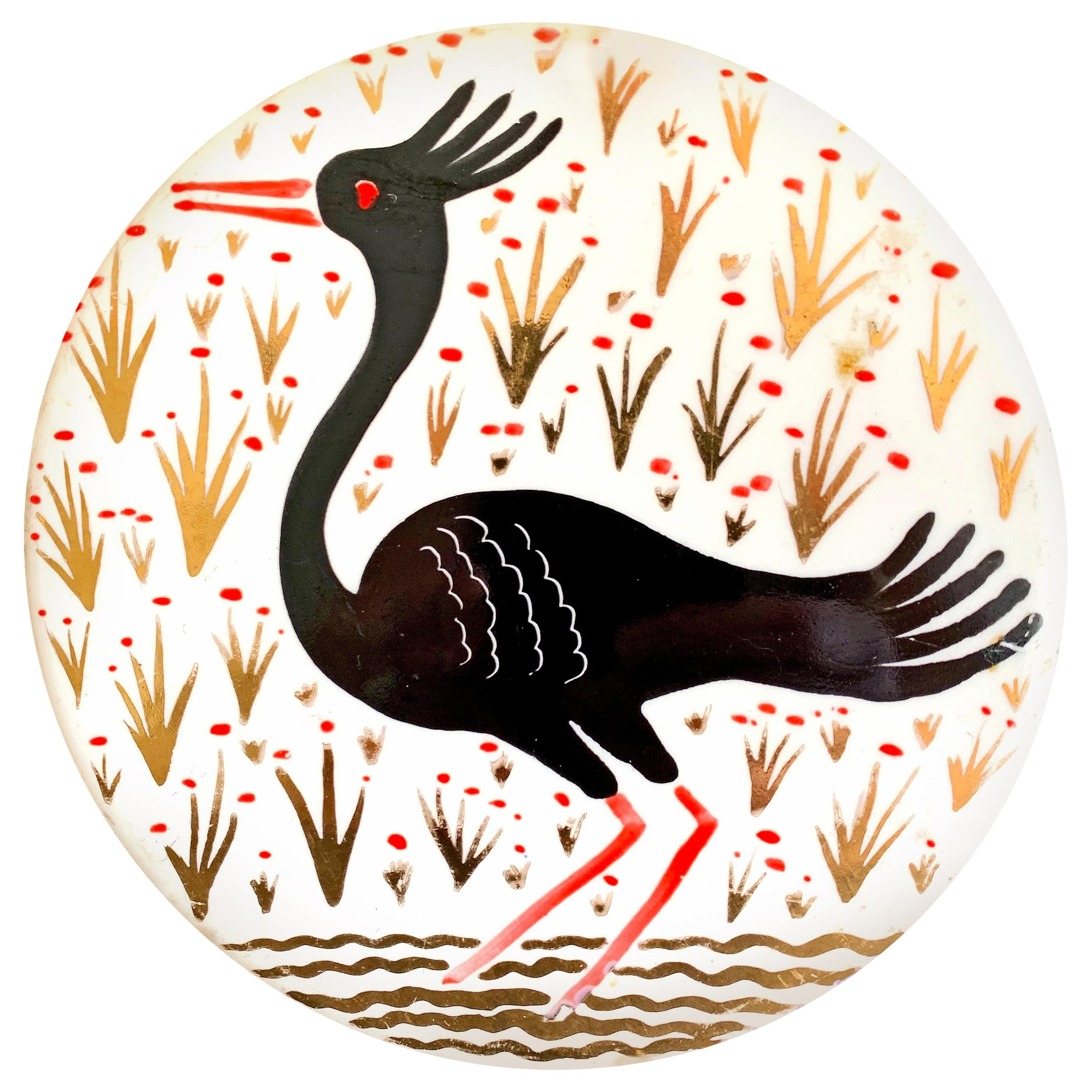 """""""Crested Water Bird,"""" Art Deco Rondel in Black and Gold by Waylande Gregory"""