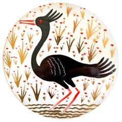 """Crested Water Bird,"" Art Deco Rondel in Black and Gold by Waylande Gregory"