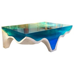Crete Center Table by Eduard Locota, Turquoise-Blue Acrylic Glass and Marble