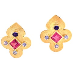Crevoshay Tanzanite and Pink Tourmaline Yellow Gold Earrings