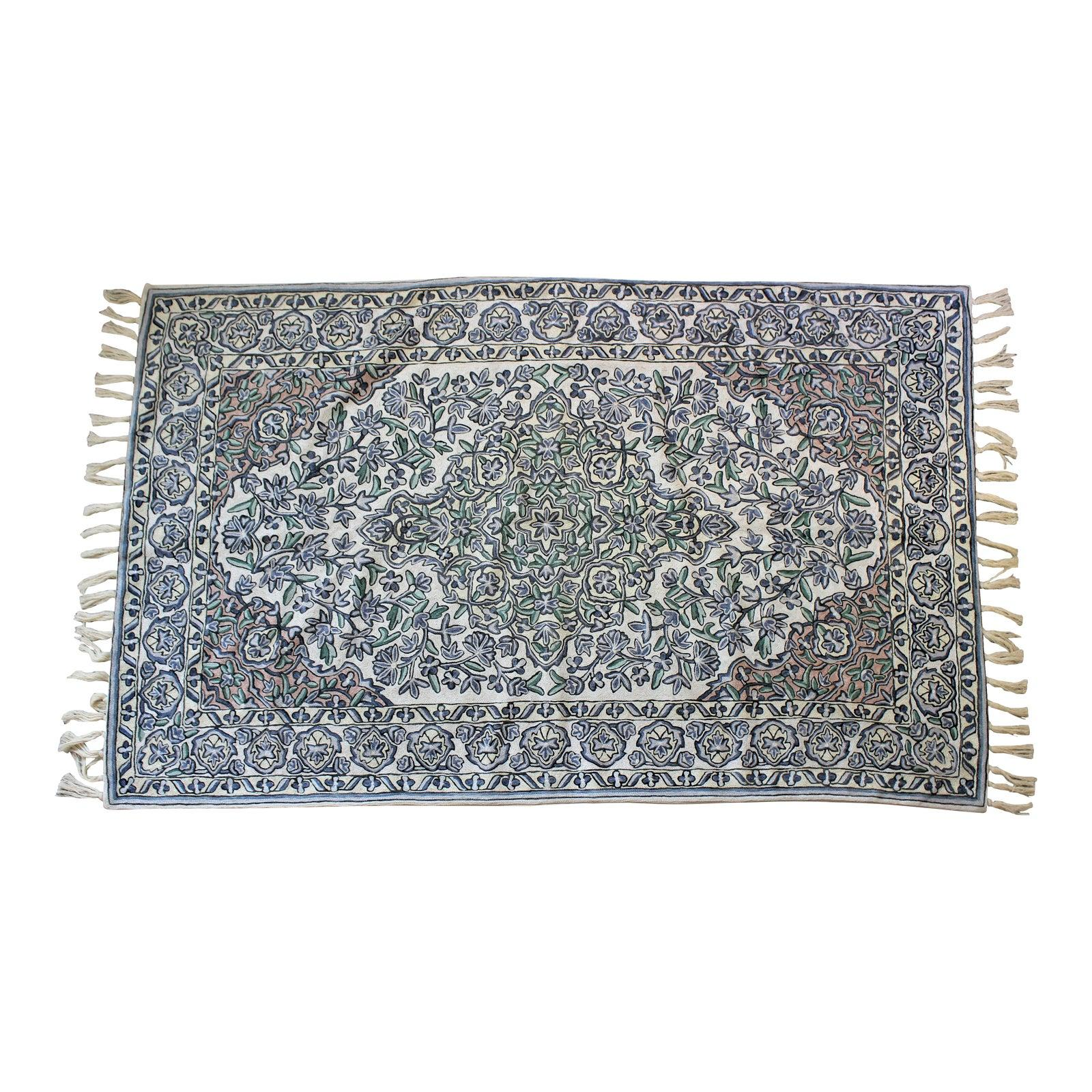 Crewel Embroidered Area Rug or Tapestry