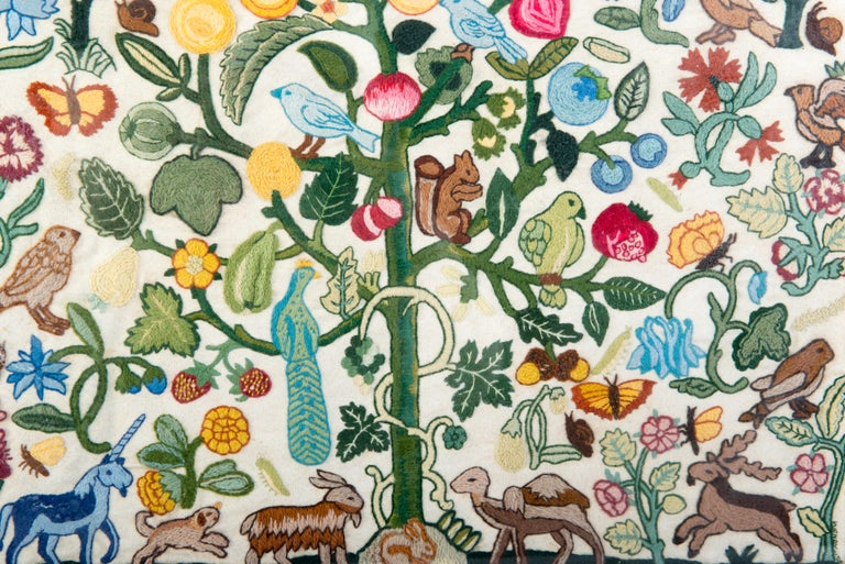 Intricate handmade crewel needlework tree of life full of flowers and animals. Would make a beautiful pillow or a hanging textile.