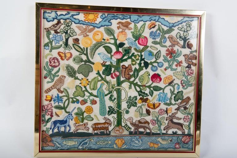 American Crewel Needlework Tree of Life Textile For Sale