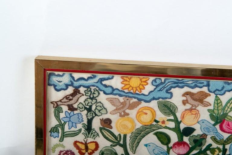 Mid-20th Century Crewel Needlework Tree of Life Textile For Sale