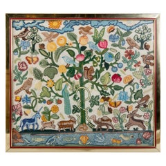 Crewel Needlework Tree of Life Textile