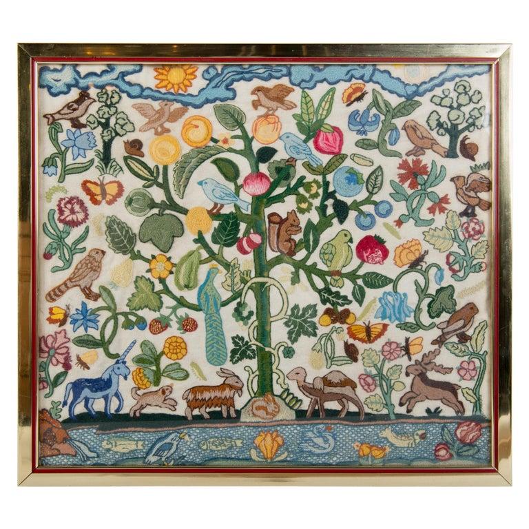 Crewel Needlework Tree of Life Textile For Sale