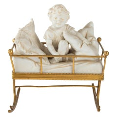 Crib Brass Gilded and Child with Bed and Biscuit Pillows