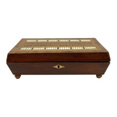 Cribbage Board Playing Card Box, Mahogany with Exotic Inlays English, ca. 1880