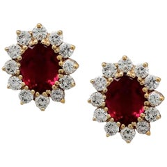 Crimson Oval Tourmaline & Diamond Cluster Stud Earrings in 14kt Y/G
