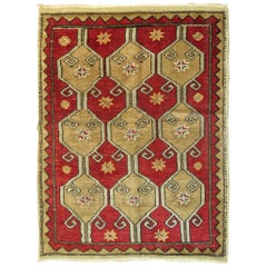 Crimson Red Turkish Mid-20th Century Scatter Size Rug