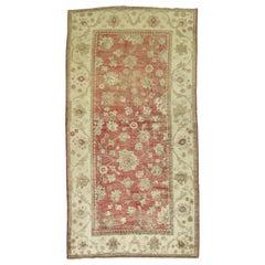 Crimson Red Turkish Oushak Foyer Accent Carpet, 20th Century