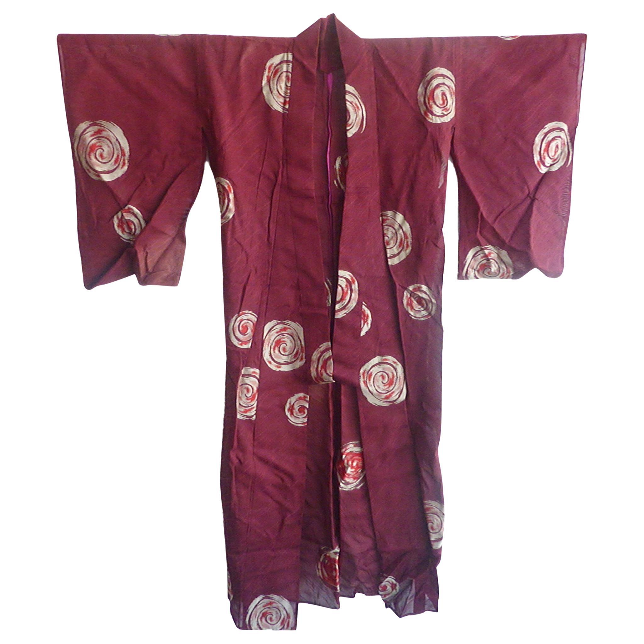 Crimson Swirl Vintage Japanese kimono