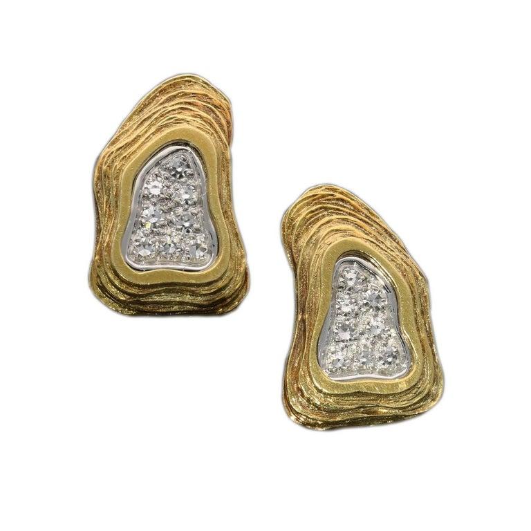 Crinnan Jewellery Ltd Pavé Diamond 18 Carat Gold Abstract Design Earrings For Sale