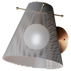 Voile Wall Sconce in Brass and Gray Enamel Mesh by Blueprint Lighting