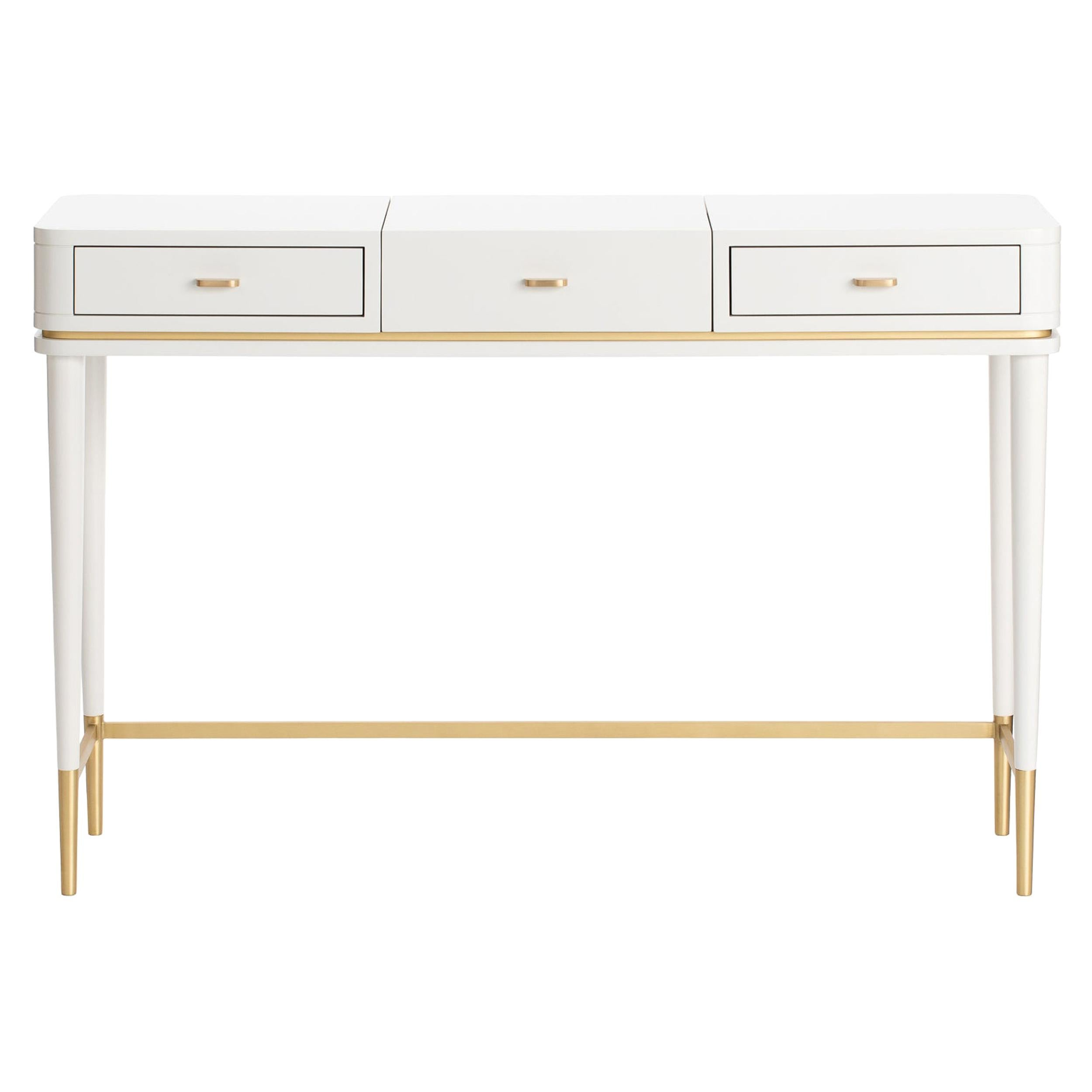 Cris Dressing Table with Antique Brass Feet and Handles