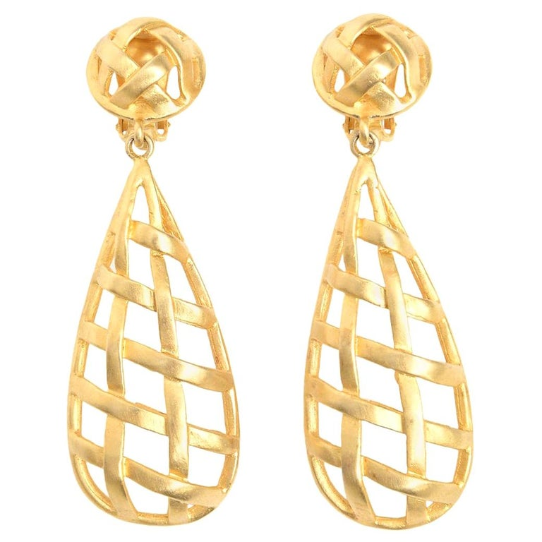 Criss Cross Cage Dangle Clip On Earrings For Sale