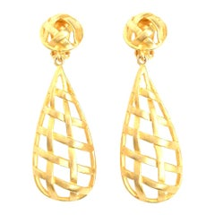 Criss Cross Cage Dangle Clip On Earrings