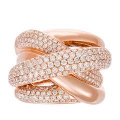 Criss Cross Diamond Gold Ring