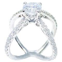 Crisscross Diamond Engagement Ring, 14 Karat White Gold X-Ring with Diamond Band