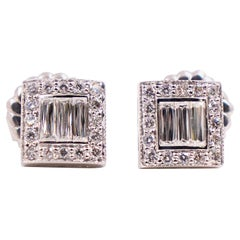 Crisscut Baguette and Round Diamond Earrings 2.00 Carat in 14 Karat White Gold