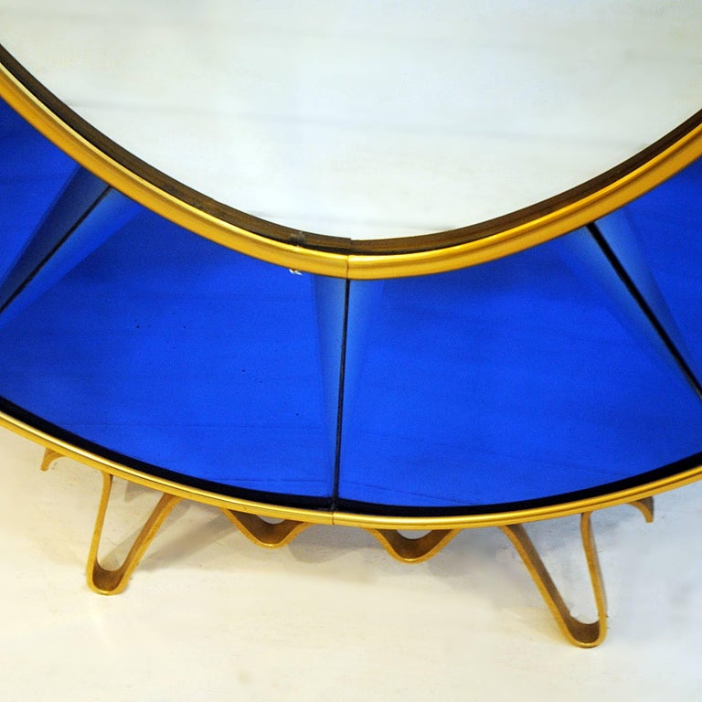 Mid-Century Modern Cristal Art Blue Console Mirror, 1950s Italy For Sale