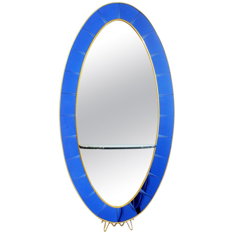 Cristal Art Blue Console Mirror, 1950s Italy For Sale