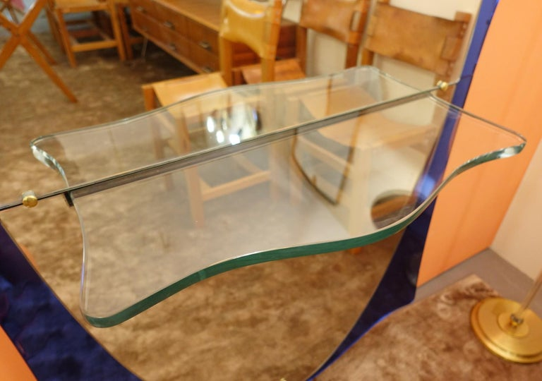 Mid-20th Century Cristal Art Blue Glass and Brass Console Mirror, Italy, 1950s For Sale