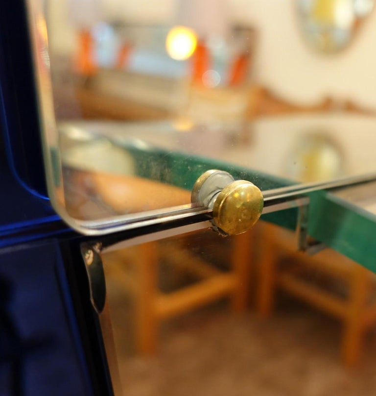 Cristal Art Blue Glass and Brass Console Mirror, Italy, 1950s For Sale 2