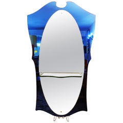 Cristal Art Blue Glass and Brass Console Mirror, Italy, 1950s