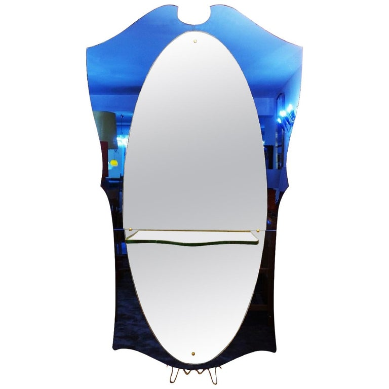 Cristal Art Blue Glass and Brass Console Mirror, Italy, 1950s For Sale