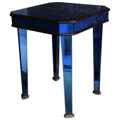 Cristal Art Coffee Table 1950 Blue Mirrored Glass Wood Italy