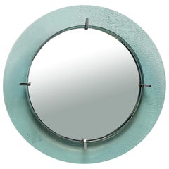Cristal Art Green Glass Framed Round Wall Mirror, Italy, 1960s