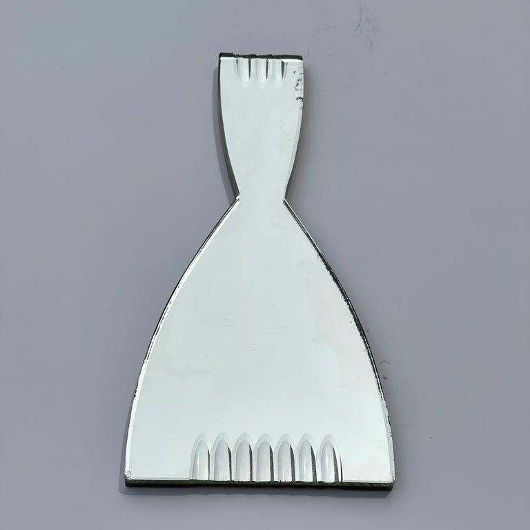Silvered Cristal Art Hand Mirror For Sale