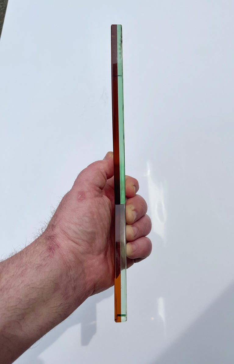 Cut Glass Cristal Art Hand Mirror For Sale