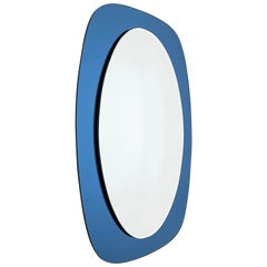 Cristal Art Midcentury Oval Italian Wall Mirror with Blue Glass Frame, 1960s