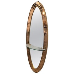 Cristal Art Mirror Console Brass wood glass Murano, 1950