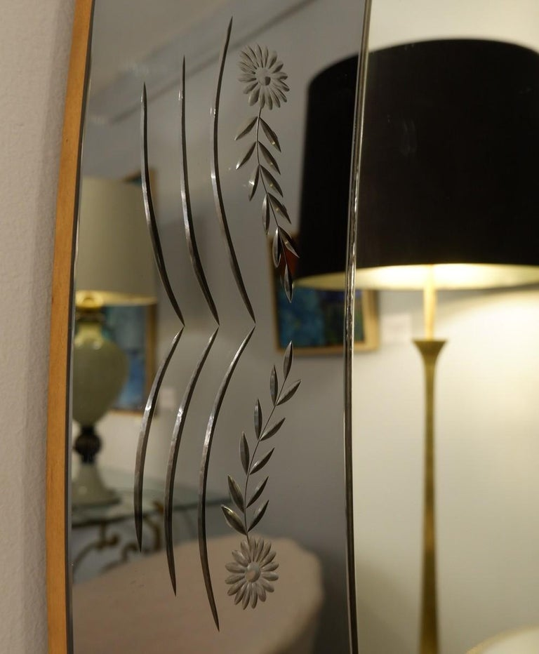Mid-Century Modern Cristal Art Mirror with Console Attributed to Luigi Colli, Italy, 1950s For Sale