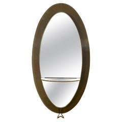 Cristal Art Oval Glass Framed Floor Mirror Glass Shelf Brass, Italy, 1960s
